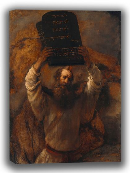 Rembrandt: Moses with the Ten Commandments. Fine Art Canvas. Sizes: A4/A3/A2/A1 (003904)